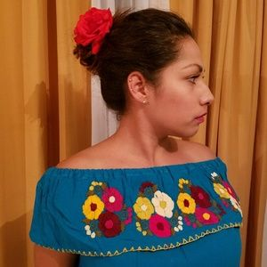 Tops - Boho, Hand Embroidered Mexican Top